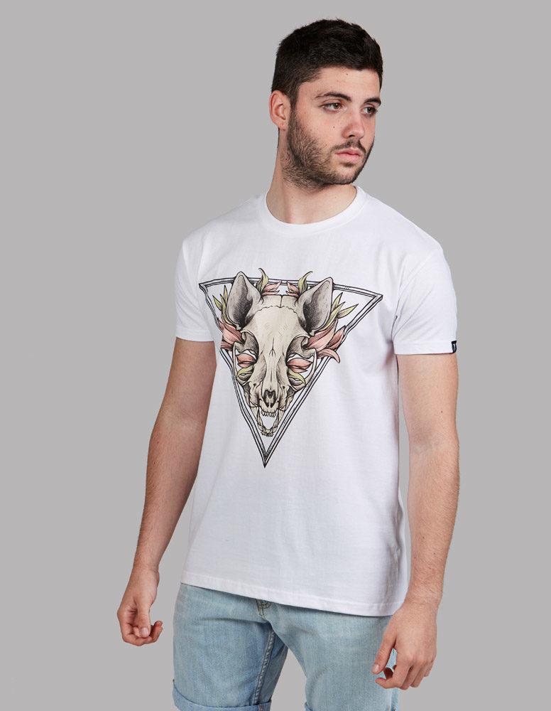 "Camiseta calavera gato ""Sfhynx Skull"" blanco hombre"
