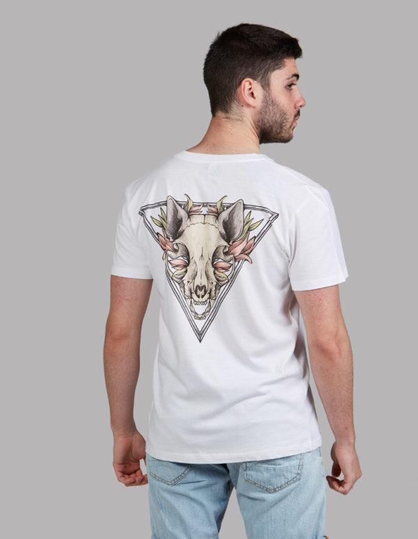 32707066d V neck Camiseta con dibujo gato calavera