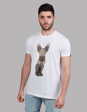 """Camiseta gato egipcio tatuado """"Sfhynx Tattoo"""" blanca hombre"""
