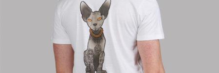 """Camiseta gato esfinge """"Sfhynx Tattoo"""" blanca hombre v-neck"""