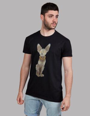 "Camiseta gato tatuado ""Sfhynx Tattoo"" negra hombre"