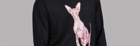 """Horus sudadera con dibujo gato Sphynx """"Sfhynx Horus"""" negra"""