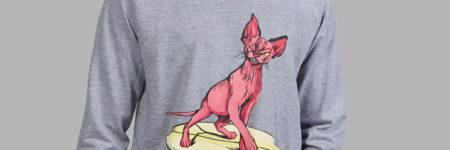 "Surf Sudadera con dibujo gato surfero ""Sfhynx Surf"" gris"