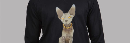 "Tattoo Sudadera con dibujo gato tatuado ""Sfhynx Tattoo"" negra"