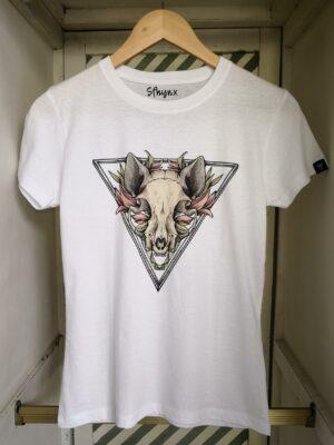 "Camiseta calavera gato ""Sfhynx Skull"" blanco mujer"