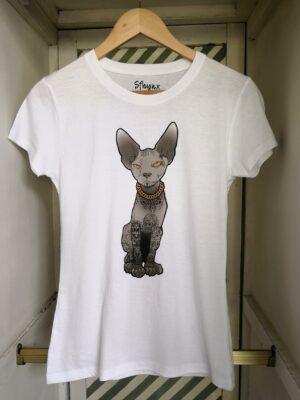 """Camiseta gato tatuaje """"Sfhynx Tattoo"""" blanco mujer"""