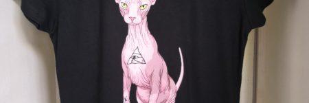 "Camiseta gato egipcio ""Sfhynx Horus"" negro mujer"