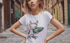 Camiseta Sphynx skate surf blanco mujer