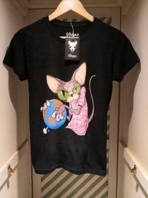 """Camiseta """"Sfhynx world"""" negro mujer"""