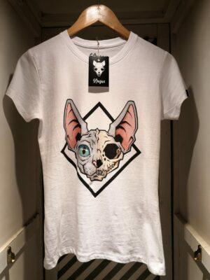 "Camiseta ""Sfhynx half skull"" blanco mujer"