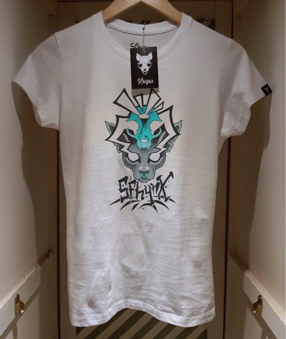 "Camiseta Sphynx "" Blue skull"" mujer"